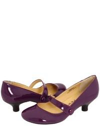 Zapatos de Tacón de Cuero Morado Oscuro