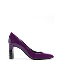 Zapatos de tacón de cuero morado oscuro de Bottega Veneta