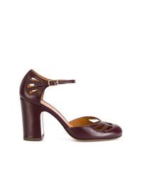 Zapatos de Tacón de Cuero Morado Oscuro de Chie Mihara