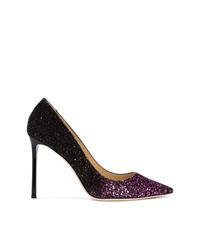Zapatos de tacón de cuero morado oscuro de Jimmy Choo