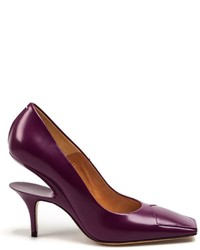 Zapatos de Tacón de Cuero Morado Oscuro de Maison Margiela