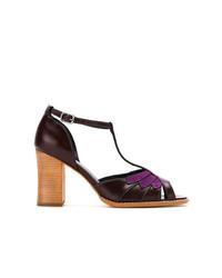 Zapatos de Tacón de Cuero Morado Oscuro de Sarah Chofakian