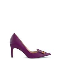 Zapatos de tacón de cuero morado oscuro de Sergio Rossi