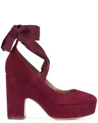 Zapatos de Tacón de Cuero Morado Oscuro de Tabitha Simmons