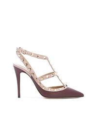 Zapatos de tacón de cuero morado oscuro de Valentino