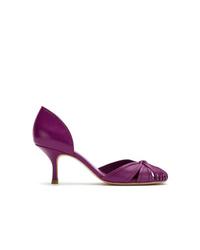 Zapatos de tacón de cuero morado de Sarah Chofakian