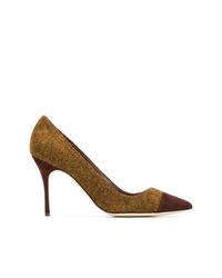 Zapatos de tacón de cuero mostaza de Manolo Blahnik