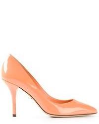 Zapatos de Tacón de Cuero Naranjas de Dolce & Gabbana