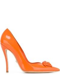 Zapatos de Tacón de Cuero Naranjas de Versace