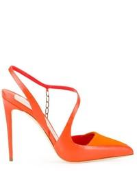 Zapatos de tacón de cuero naranjas