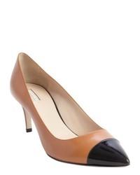 Zapatos de Tacón de Cuero Negros y Marrón Claro