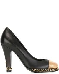 Zapatos de Tacón de Cuero Negros y Marrón Claro de Chanel