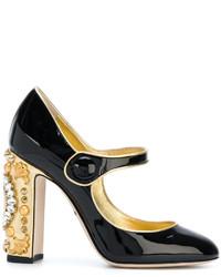 Zapatos de Tacón de Cuero Negros de Dolce & Gabbana
