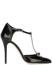 Zapatos de Tacón de Cuero Negros de Oscar de la Renta