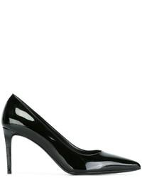 Zapatos de Tacón de Cuero Negros de Saint Laurent