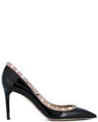 Zapatos de Tacón de Cuero Negros de Valentino Garavani