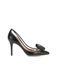 Zapatos de tacón de cuero negros de Valentino