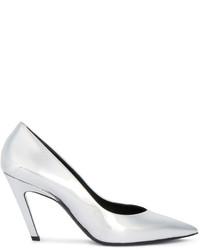 Zapatos de Tacón de Cuero Plateados de Balenciaga