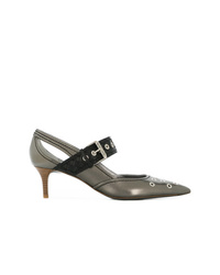 Zapatos de tacón de cuero plateados de Bottega Veneta