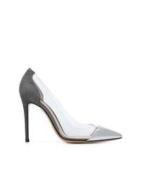 Zapatos de tacón de cuero plateados de Gianvito Rossi
