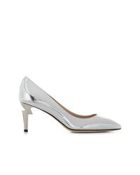 Zapatos de tacón de cuero plateados de Giuseppe Zanotti Design