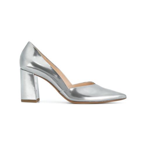 Zapatos de tacón de cuero plateados de Högl