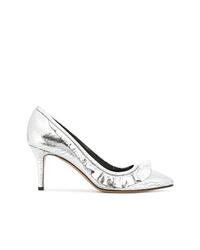 Zapatos de tacón de cuero plateados de Isabel Marant
