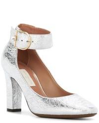 Zapatos de tacón de cuero plateados de L'Autre Chose
