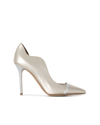 Zapatos de tacón de cuero plateados de Malone Souliers
