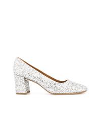Zapatos de tacón de cuero plateados de Mansur Gavriel