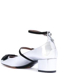 Zapatos de tacón de cuero plateados de Tabitha Simmons
