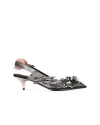 Zapatos de tacón de cuero plateados de N°21