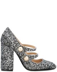 Zapatos de tacón de cuero plateados de No.21