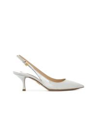 Zapatos de tacón de cuero plateados de Prada