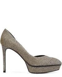 Zapatos de tacón de cuero plateados de Saint Laurent