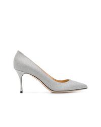 Zapatos de tacón de cuero plateados de Sergio Rossi