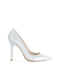 Zapatos de tacón de cuero plateados de Sophia Webster