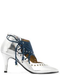 Zapatos de tacón de cuero plateados de Toga Pulla