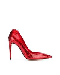 Zapatos de tacón de cuero rojos de Alexander McQueen