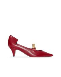Zapatos de tacón de cuero rojos de Burberry