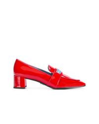 Zapatos de tacón de cuero rojos de Prada