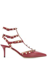 Zapatos de Tacón de Cuero Rojos de Valentino