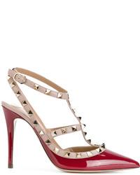 Zapatos de Tacón de Cuero Rojos de Valentino Garavani