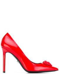 Zapatos de Tacón de Cuero Rojos de Versace