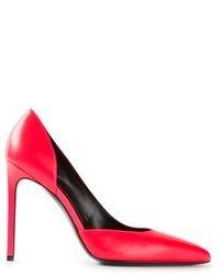 Zapatos de tacón de cuero rosa de Saint Laurent