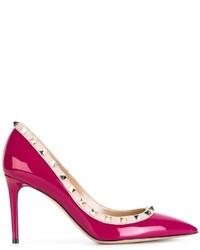 Zapatos de Tacón de Cuero Rosa de Valentino Garavani