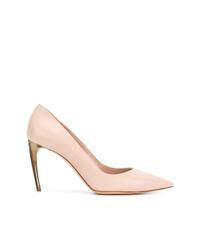 Zapatos de tacón de cuero rosados de Alexander McQueen