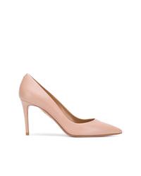 Zapatos de tacón de cuero rosados de Aquazzura
