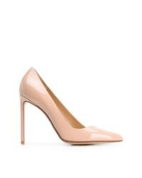 Zapatos de tacón de cuero rosados de Francesco Russo
