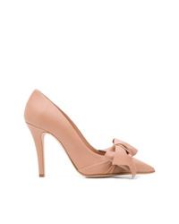 Zapatos de tacón de cuero rosados de RED Valentino